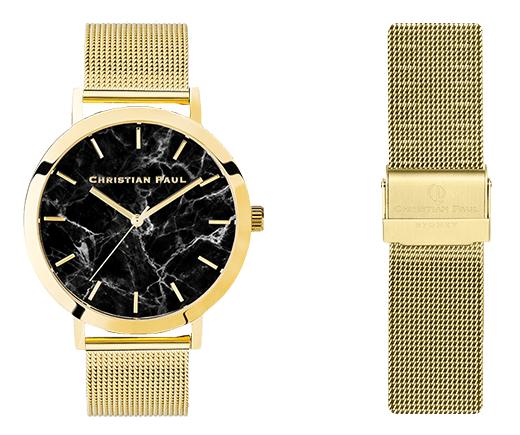 クリスチャンポール メンズ腕時計 ゴールドケースマーブル