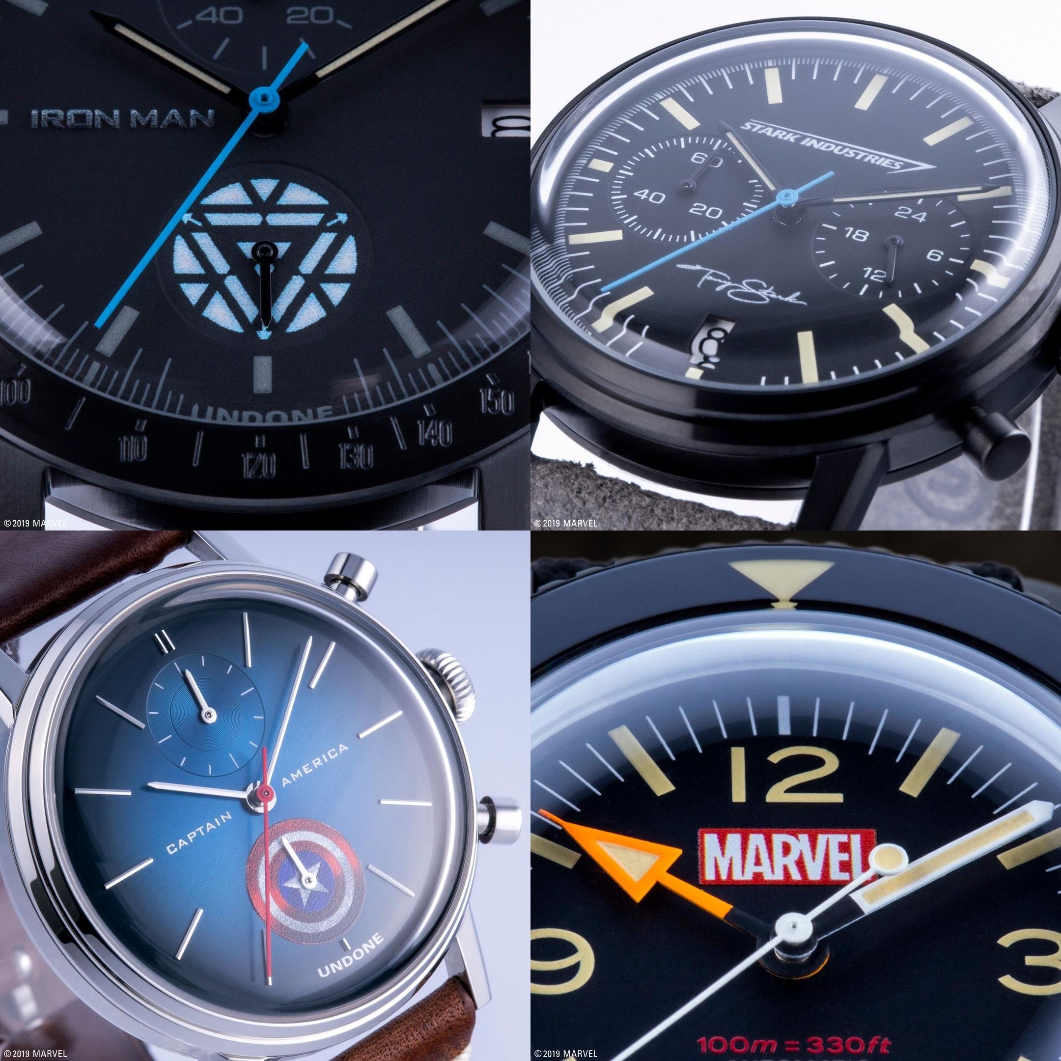 UNDONE マーベル 限定コラボ腕時計 アイアンマン スターク キャプテンアメリカ マーベル