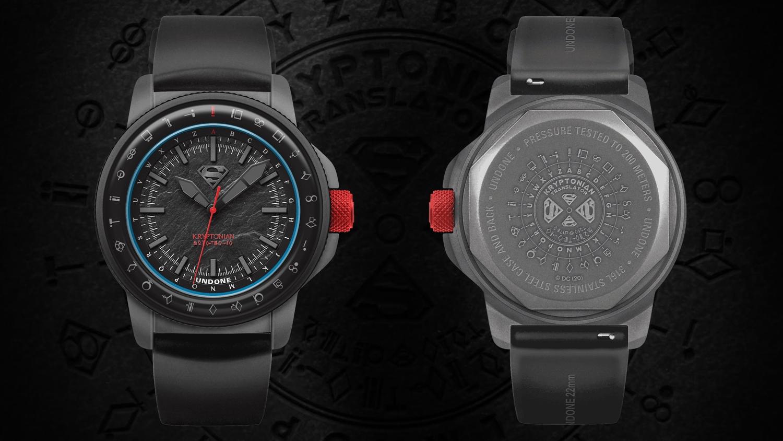 UNDONE アンダーン SUPERMAN スーパーマン コラボ腕時計 front back 「クリプトン」からのメッセージを解読